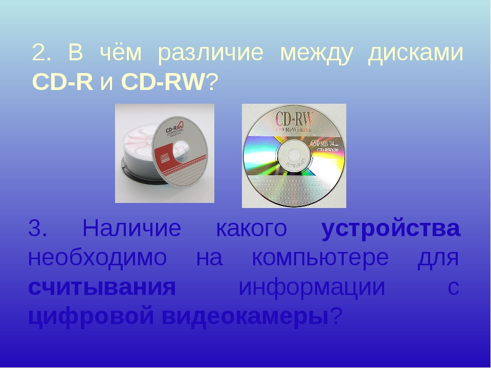 2. В чём различие между дисками CD-R и CD-RW? 3. Наличие какого устройства не...
