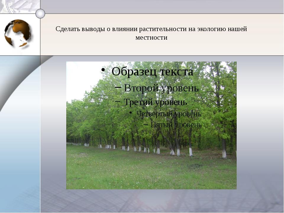 Сделать выводы о влиянии растительности на экологию нашей местности