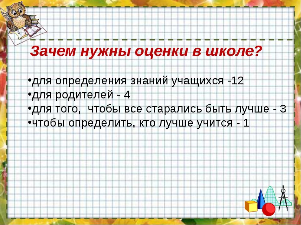 Зачем нужны оценки в школе? для определения знаний учащихся -12 для родителе...