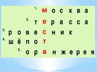 1. м о с к в а  2. т е р а с с а 3. р о в е с н и к  4. ш ё п о т