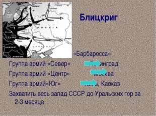 Блицкриг План «Барбаросса» Группа армий «Север» Ленинград Группа армий «Цент