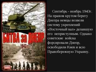 Сентябрь - ноябрь 1943г. На правом крутом берегу Днепра немцы возвели систем
