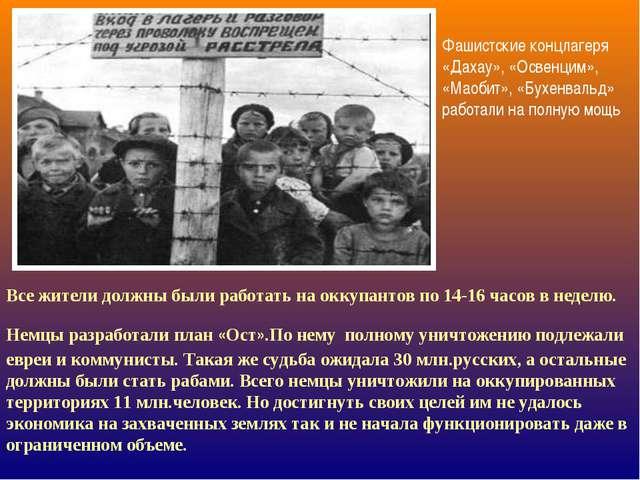 Фашистские концлагеря «Дахау», «Освенцим», «Маобит», «Бухенвальд» работали на...