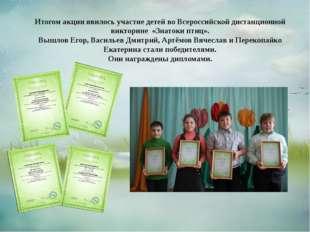 Итогом акции явилось участие детей во Всероссийской дистанционной викторине «
