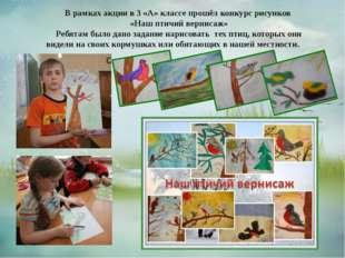 В рамках акции в 3 «А» классе прошёл конкурс рисунков «Наш птичий вернисаж» Р