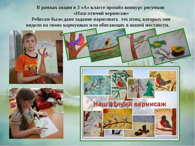 В рамках акции в 3 «А» классе прошёл конкурс рисунков «Наш птичий вернисаж» Р...