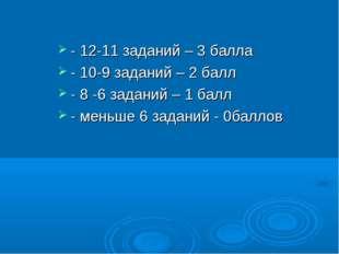 - 12-11 заданий – 3 балла - 10-9 заданий – 2 балл - 8 -6 заданий – 1 балл - м