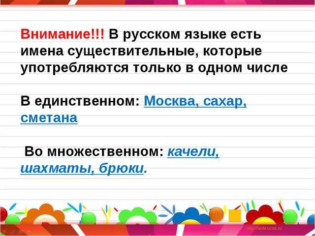 Внимание!!! В русском языке есть имена существительные, которые употребляются...