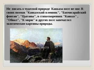 """Не писать о чудесной природе Кавказа поэт не мог. В своих поэмах """"Кавказский"""