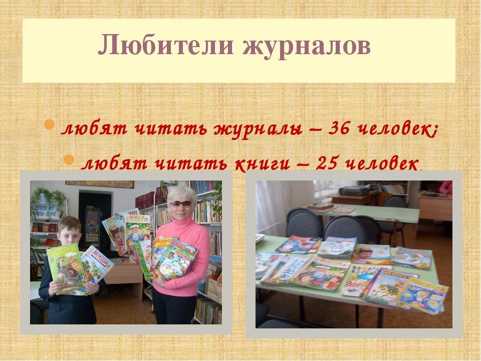 любят читать журналы – 36 человек; любят читать книги – 25 человек Любители...