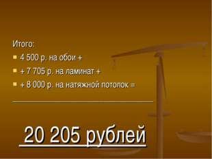 Итого: 4 500 р. на обои + + 7 705 р. на ламинат + + 8 000 р. на натяжной пото