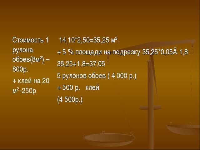 Стоимость 1 рулона обоев(8м2) – 800р. + клей на 20 м2 -250р 14,10*2,50=35,25...