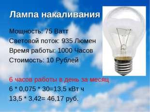 Лампа накаливания Мощность: 75 Ватт Световой поток: 935 Люмен Время работы: 1