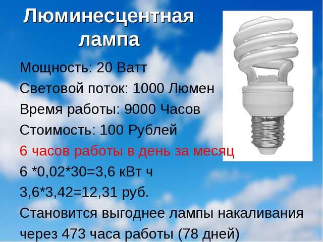 Люминесцентная лампа Мощность: 20 Ватт Световой поток: 1000 Люмен Время работ...