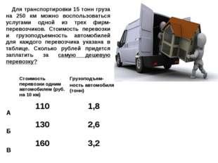 Для транспортировки 15 тонн груза на 250 км можно воспользоваться услугами о