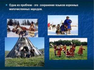 Одна из проблем - это сохранение языков коренных малочисленных народов.