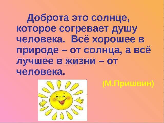 Доброта это солнце, которое согревает душу человека. Всё хорошее в природе –...