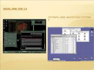 ИЮЛЬ 1998: KDE 1.0 ОКТЯБРЬ 1999: MACINTOSH SYSTEM 9