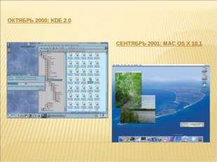 ОКТЯБРЬ 2000: KDE 2.0 СЕНТЯБРЬ 2001: MAC OS X 10.1