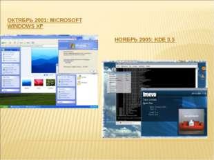 ОКТЯБРЬ 2001: MICROSOFT WINDOWS XP НОЯБРЬ 2005: KDE 3.5