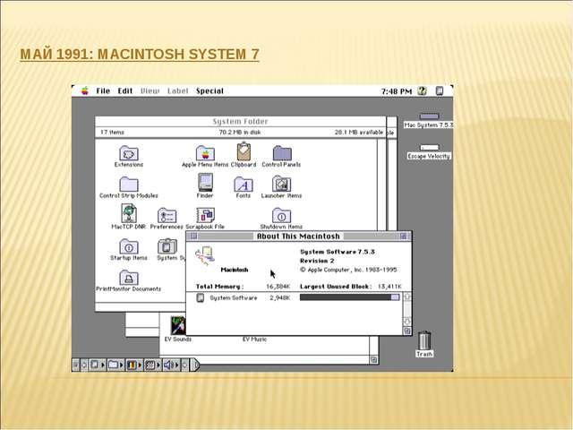 МАЙ 1991: MACINTOSH SYSTEM 7