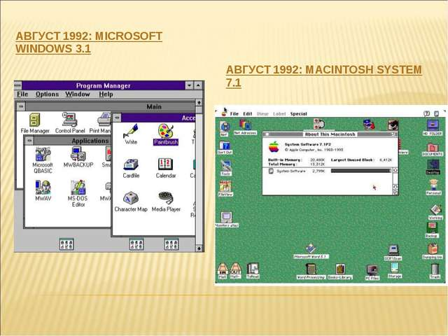 АВГУСТ 1992: MICROSOFT WINDOWS 3.1 АВГУСТ 1992: MACINTOSH SYSTEM 7.1