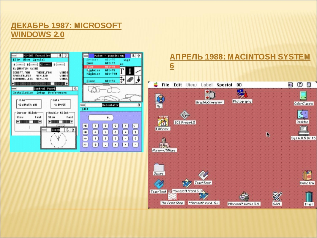 ДЕКАБРЬ 1987: MICROSOFT WINDOWS 2.0 АПРЕЛЬ 1988: MACINTOSH SYSTEM 6