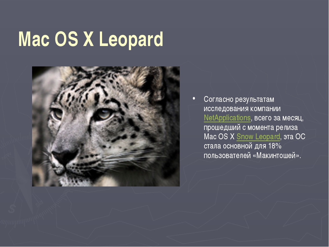 Mac OS X Leopard Согласно результатам исследования компании NetApplications,...