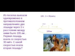 Из поселка выехали одновременно в противоположном направлениях две лошади чер