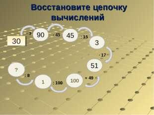Восстановите цепочку вычислений 30 90 45 3 51 100 ∙ 3 - 45 : 15 ∙ 17 + 49 1 :