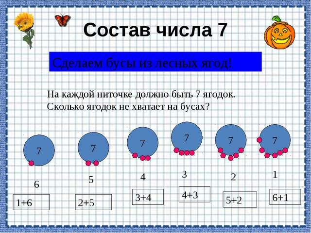 Состав числа 7 Сделаем бусы из лесных ягод! На каждой ниточке должно быть 7 я...