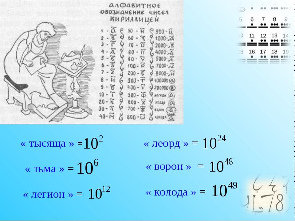 « тысяща » = « тьма » = « легион » = « леорд » = « ворон » = « колода » =