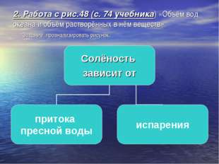 2. Работа с рис.48 (с. 74 учебника) «Объём вод океана и объём растворённых в
