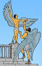 Дедал надел крылья сыну и учил его летать.