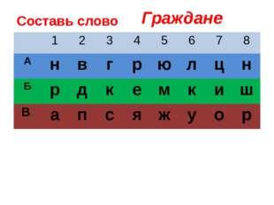Составь слово Граждане 1 2 3 4 5 6 7 8 А н в г р ю л ц н Б р д к е м к и ш В