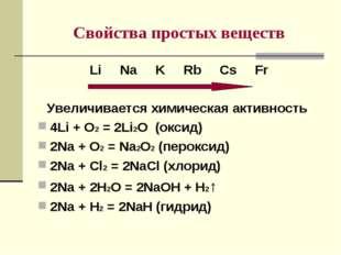 Cвойства простых веществ Li Na K Rb Cs Fr Увеличивается химическая активность