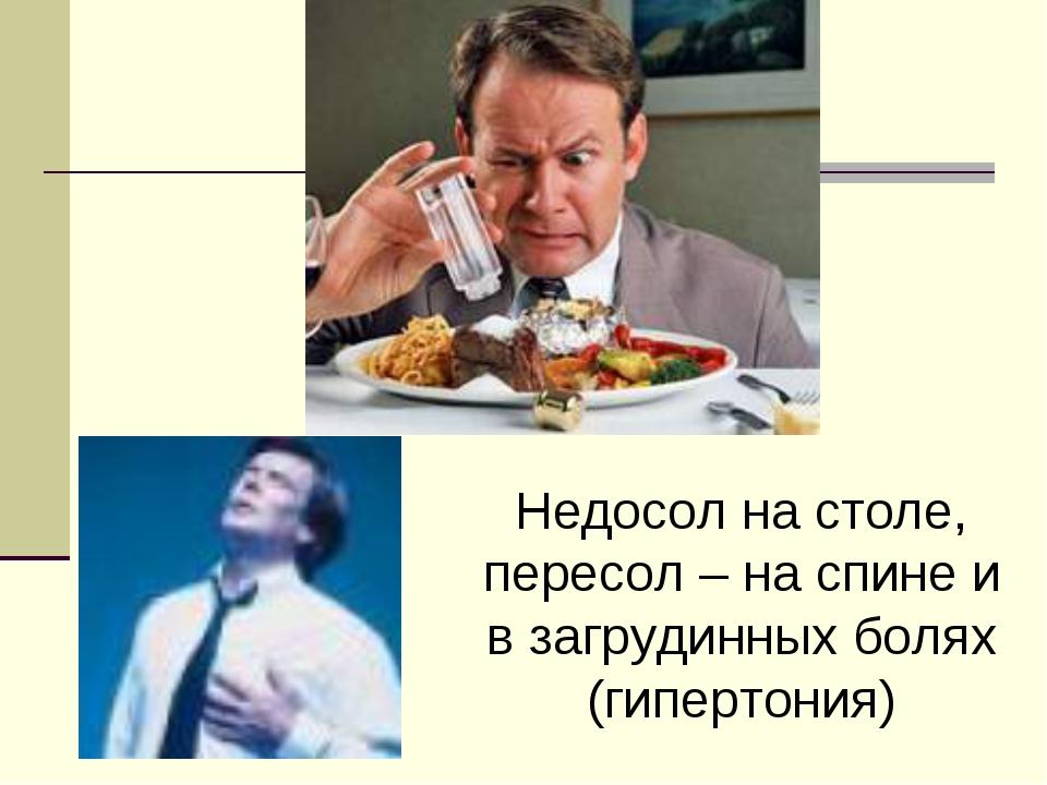Недосол на столе, пересол – на спине и в загрудинных болях (гипертония)