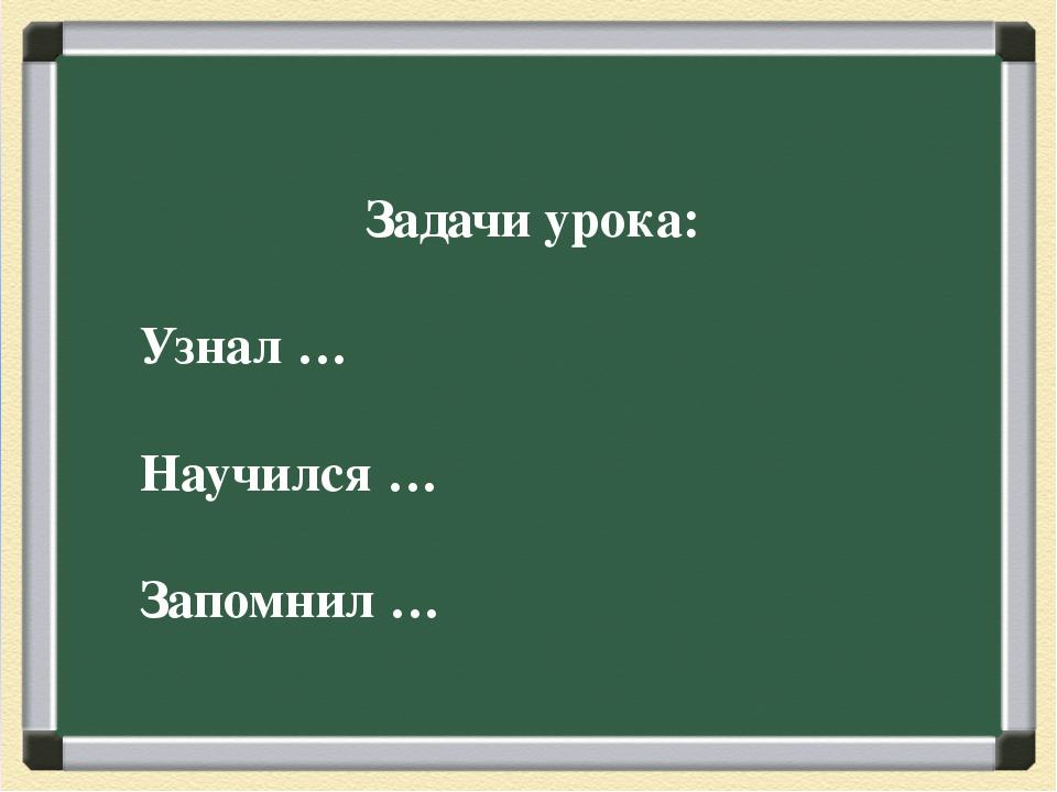 Задачи урока: Узнал … Научился … Запомнил …