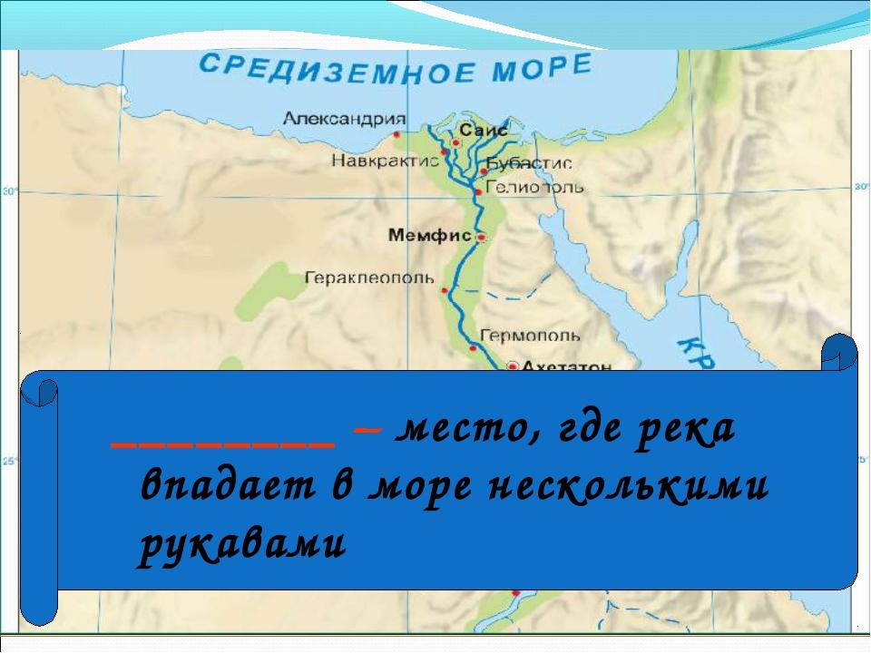 ________ – место, где река впадает в море несколькими рукавами