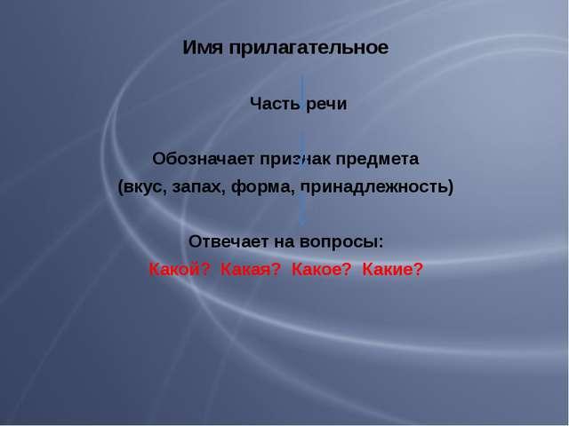 Имя прилагательное Часть речи Обозначает признак предмета (вкус, запах, форма...