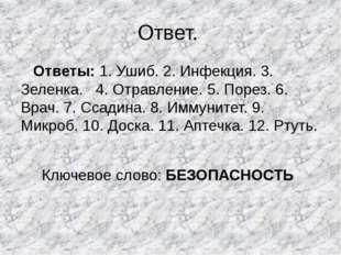 Ответ. Ответы: 1. Ушиб. 2. Инфекция. 3. Зеленка. 4. Отравление. 5. Порез. 6.