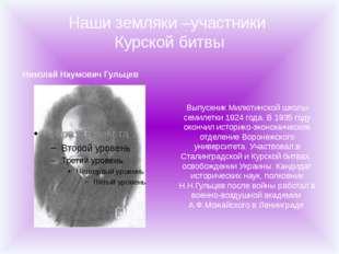 Наши земляки –участники Курской битвы Николай Наумович Гульцев Выпускник Милю