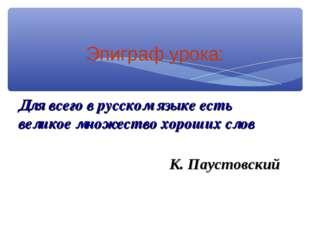 Эпиграф урока: Для всего в русском языке есть великое множество хороших слов