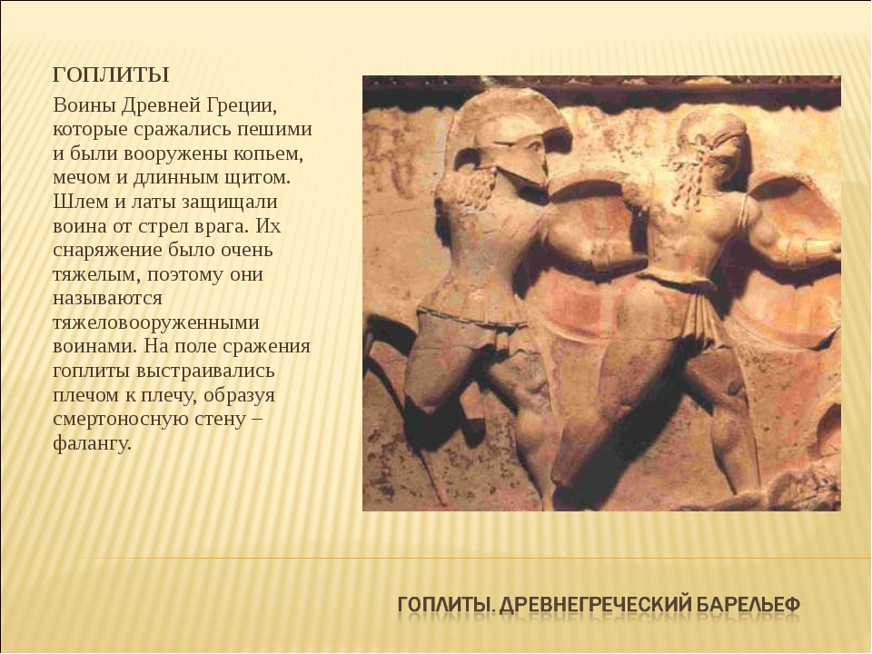 ГОПЛИТЫ Воины Древней Греции, которые сражались пешими и были вооружены копье...