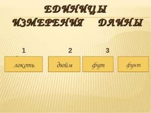 ЕДИНИЦЫ ИЗМЕРЕНИЯ ДЛИНЫ 1 2 3 4 локоть дюйм фут фунт