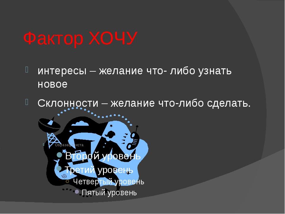 Фактор МОГУ Возможности личности: Способности – технические, организаторские,...