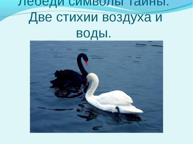 Лебеди символы тайны. Две стихии воздуха и воды.