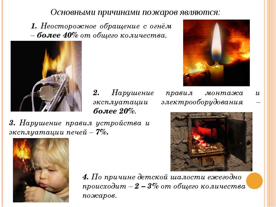 Основными причинами пожаров являются: 1. Неосторожное обращение с огнём – бол...