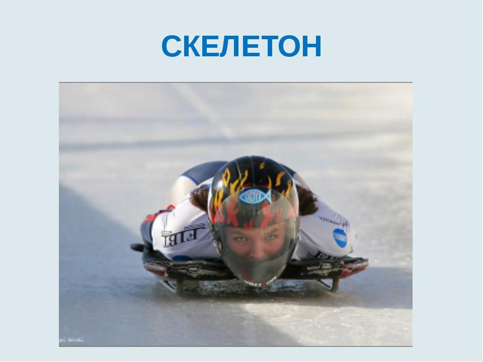 СКЕЛЕТОН На санях я лицом внизу Носком ботинок управляю А зимний олимпийский...