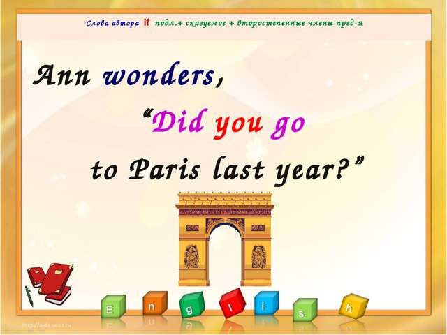 Ann wondered to Paris  Слова автора if подл.+ сказуемое + второстепенные...